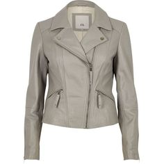 River Island Grey leather biker jacket ($240) ❤ liked on Polyvore featuring outerwear, jackets, coats / jackets, grey, women, grey leather jacket, gray jacket, gray moto jacket, leather motorcycle jacket and real leather jackets