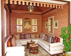 Second lounge area in Maharani Suite, Rambagh Palace hotel, Jaipur, Rajasthan, India. Maharani Gayatri Devi, royal