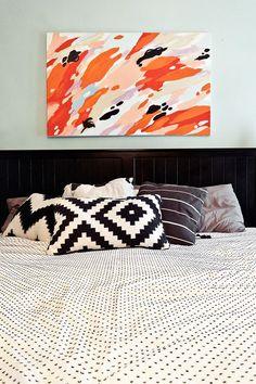Bedroom: Black, white, pop. {Via @Design*Sponge on Chelsea and Forrest Kline}