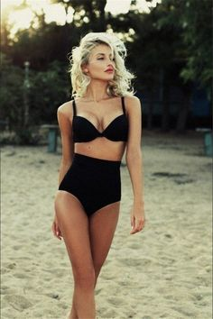 Classic Retro Black High-Waist Padded Push-Up 2-PC Bikini S-XL