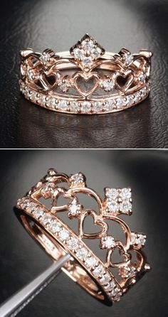 He may pick out your ring, but there is no reason you can't let him know what you want! Forever be reminded that you are his princess with a gorgeous rose gold crown ring.