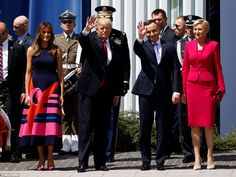 Trump waves next to First Lady of the US Melania Trump, Polish President Andrzej Duda and . She wore purple high heels, orange, stunning dress. Poland July 6 First Lady Melania Trump Donald And Melania Trump, First Lady Melania Trump, Donald Trump, Malania Trump, Trump One, American Presidents, Us Presidents, Special Occasion Outfits, Young And Beautiful