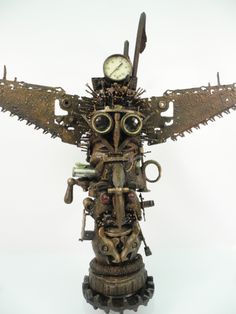 """""""Bipolar"""" Rotating Totem Pole, found object assemblage by Assemblique™"""