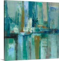 Chic 'A Walk in the Rain' Silvia Vassileva Painting Print by Red Barrel Studio Wall Art Decor from top store Rain Painting, Painting Prints, Wall Art Prints, Poster Prints, Canvas Prints, City Painting, Abstract Canvas, Canvas Wall Art, Blue Abstract