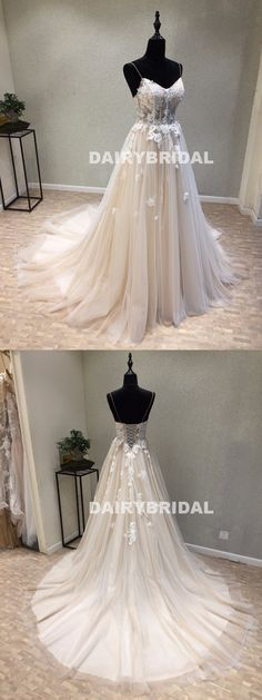 Cheap Spaghetti Straps Tulle Wedding Dress, Vintage A-Line Backless Apllique Wedding Dress, D1085