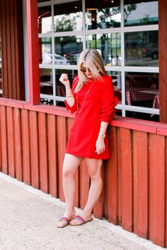 Statement Sleeves + Red Dress