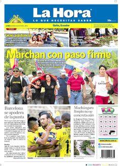 """Esta es nuestra portada de hoy, 3 de agosto del 2015. Tema destacado: """" Marchan con paso firme""""."""