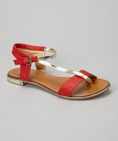 Take a look at this Red Metallic Strap Sandal by Shully's on #zulily today!