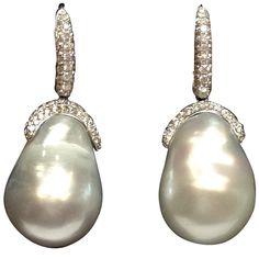 South Sea Baroque Pearl Diamond Earrings | From a unique collection of vintage drop earrings at https://www.1stdibs.com/jewelry/earrings/drop-earrings/