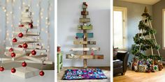 15 Alternative Christmas Tree Design Ideas Recycling Paper, Cardboard and Wood Christmas Tree Design, Unusual Christmas Trees, Wood Christmas Tree, Alternative Christmas Tree, Noel Christmas, Holiday Tree, Rustic Christmas, Christmas Crafts, Christmas Decorations