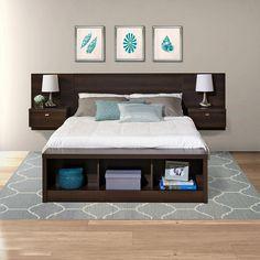diy Bed Frame floating - Prepac Series 9 Designer Platform Storage Bed with Floating Headboard in Espresso Home Bedroom, Bedroom Furniture, Diy Furniture, Bedroom Decor, Bedroom Ideas, Bed Ideas, Furniture Design, Bedrooms, Design Bedroom