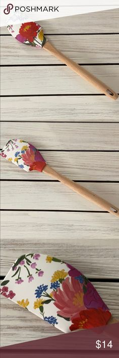 ANTHROPOLOGIE Pink Floral Bowl Scraper Spatula EUC Anthropologie Kitchen Kitchen Tools