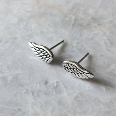 Sterling silver angel wing ear studs Silver angel by SilverCartel