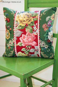 Vintage Home Shop - Gorgeous Vintage Rosy Barkcloth and Floral Linen Cushion: www.vintage-home.co.uk