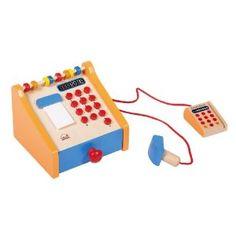 wooden cash register + homemade play money inside little felt wallets for the stockings!