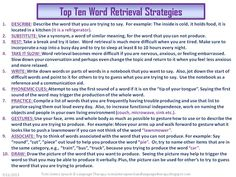 Twin Sisters Speech & Language Therapy: TOP TEN LIST: Word Retrieval Strategies