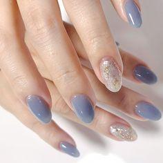 Asian Nail Art, Asian Nails, Korean Nail Art, Elegant Nails, Stylish Nails, Funky Nails, Blue Nails, Simple Gel Nails, Cute Nail Art Designs