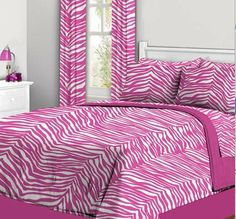 Pink & White Zebra Teen Girls Twin Comforter Set (6 Piece Bed In A Bag) by Kreative Kids. $77.99. The set includes a TWIN Size Comforter, 1- Flat Sheet, 1- Fitted Sheet, 1- Sham, 1- Pillowcase & 1- Bed Skirt.. This comforter set is a Cute Zebra Stripe style comforter set.  Perfect for your Teen or Tween.  This is 1st Quality, Not Irregular. The set includes a TWIN Size Comforter, 1- Flat Sheet, 1- Fitted Sheet, 1- Sham, 1- Pillowcase & 1- Bed Skirt.  The comforter re...