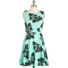Short Length Sleeveless A-line Palm Springs Sweet Dress by ModCloth ($30) ❤ liked on Polyvore featuring dresses, mint, apparel, fashion dress, sleeveless a line dress, mint green dress, short dresses, a line dress and a line cocktail dress