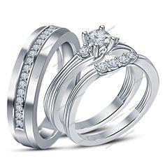1.34 CT Brilliant Diamond 14K White Gold Finish Unisex Trio Engagement Ring Set…