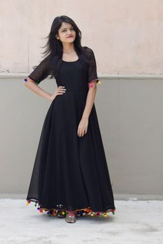 Online Shopping India - Buy Kurtis, Tops, Dresses, Shirts & Fashion For Women Black Lashkara AnarkaliGeorgette with Shantoon lining and pompom lace detailing CostSimplest is the best Churidar Designs, Kurta Designs Women, Indian Gowns Dresses, Pakistani Dresses, Frock Fashion, Fashion Dresses, Indian Designer Outfits, Designer Dresses, Anarkali Dress