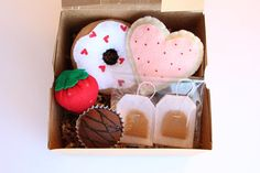 Felt Valentine's Sweets Set In Bakery Box Donut Heart