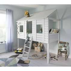 Noa and Nani Christopher Treehouse Bed Mid Sleeper Cabin Bed Kid Beds, Bunk Beds, Mid Sleeper Cabin Bed, High Sleeper, Treehouse Cabins, Treehouse Loft Bed, Tree House Designs, Childrens Beds, House Beds