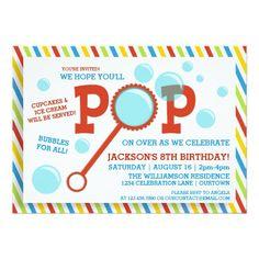 Boy's Bubble Party Birthday Invitation