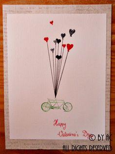 Green bike Valentines card