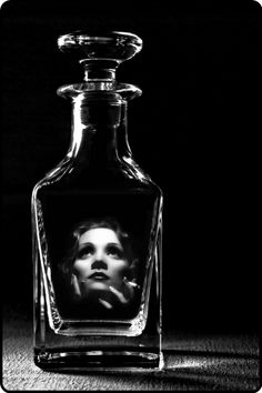 Marlene Dietrich, Holographic Desire by *My-he-art~♛ Alcohol Bottles, Perfume Bottles, Black Neon, Black And White, Writing Pictures, Long Drink, A Course In Miracles, Photo Manipulation, Holographic