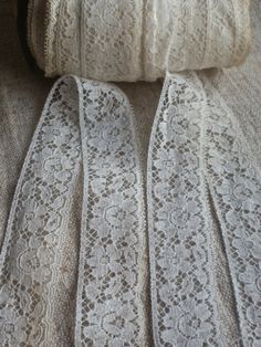 Vintage trim white lace edging Good quality pieces from a long closed French haberdashers Cotton off white trim, old new stock in good unused condition. The lace has been in storage for a long time so there may be some soiling & stains in places and perhaps some storage smell 4.7 yards (435 cm) for this listing by 1 1/8 wide (2.8 cm) For international buyers please choose shipping upgrades if you would like to add a tracking number to your package  last in stock