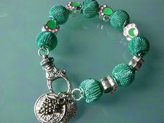 CoSi's Armband UNIKAT Netzperlen grün ausgefallen edel Charms