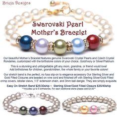 Pearl Mother's Bracelet Swarovski Crystal Pearl by briejadesigns