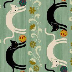 Quilt Gate Fabrics - Hyakka Ryoran - Neko HR3110-12
