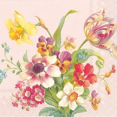 IHR Welcome Spring Rose Floral Printed 3-Ply Paper Luncheon Napkins Wholesale L600650