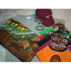 CBS SURVIVOR TV SHOW PARTY BUNDLE - Grand Party for 10 Including Bandanas, Shirt, Cap, Shot Glasses, & Games - All Official TV Show Merchandise!