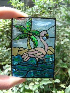 Original plexiglass ACEO Flamingo Paradise by creationsbygena