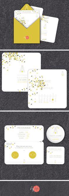 Invitations graphiques pour un mariage design et moderne