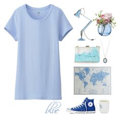 """blue"" by emilykatephilip on Polyvore featuring Uniqlo, Converse, Armenta, Pier 1 Imports, Anglepoise, Topshop, LSA International, women's clothing, women and female"