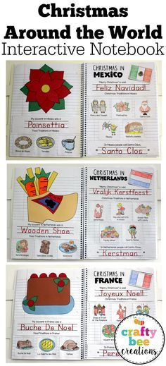 Christmas Around the World Interactive Notebook that includes crafts and worksheets for 13 different countries including: Australia, Brazil, Canada, England, France, Germany, Israel, Italy, Mexico, Netherlands, Russia, Sweden, and the United States of America.