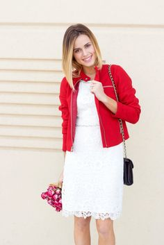 Date night ideas: Valentine's edition | What to wear for Valentine's Day | White Lace dress | Red Jacket • Uptown with Elly Brown
