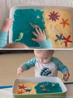 Not sure about edibles at work, but maybe I can hand out directions? Under the Sea Small World Play Tub. Edible sensory play idea using ocean animals. Suitable for babies and toddlers. Little Lifelong Learners. Edible Sensory Play, Sensory Boxes, Sea Activities, Infant Activities, Motor Activities, Indoor Activities, Summer Activities, Family Activities, Toddler Play