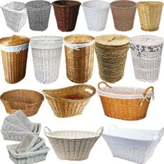 Small Large White Brown Wicker Round Rectangle Laundry Willow Basket Storage New
