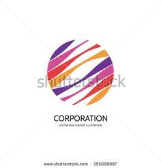 Abstract vector logo concept illustration. Abstract stripes in circle. Sphere vector logo. Hi-tech vector logo. Travel company logo. Globe logo. Geometric logo sign. Vector logo design template.
