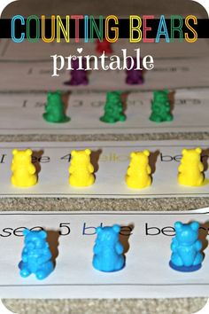 Counting bears free counting strips for preschool, pre-k and kindergarten.