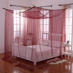 Palace 4-Poster Bed Canopy In Burgundy Bedroom Decor For Teen Girls Diy, Girls Bedroom, Bedroom Ideas, Bedroom Designs, Girl Room, Master Bedroom, Canopy Beds, Bed Tent, Bed Curtains