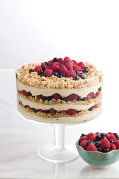 Lemon Berry Trifle 2 (24.2-ounce) tubs ready-to-eat cheesecake filling 1⁄4 cup lemon curd  6 cups vanilla wafer crumbs (or some yummy shortbread cookies) 6 cups mixed fresh berries