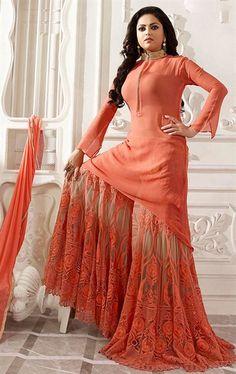 Ravishing Apricot Designer Palazo Salwar Kameez