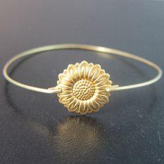 Sunflower Bracelet, Sunflower Jewelry, Gold, Sunflower Bangle, Sun Flower Bracelet, Sun Flower Jewelry, Sunflower Wedding, Sunflower Jewlery