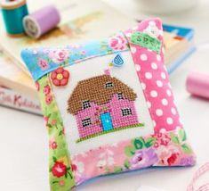 Cross-Stitch Cottage Pincushion